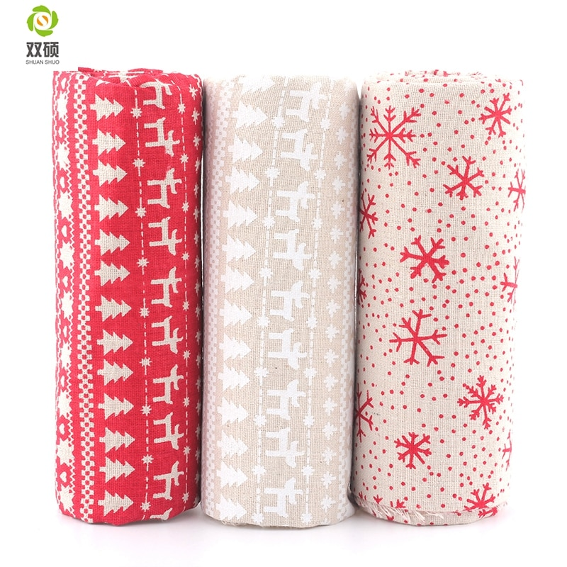 New Print Xmas Pattern Cotton Linen Fabric DIY Christmas Decoration Fabric For Patchwork Dress Sofa Curtain45X45CM M1-3-2