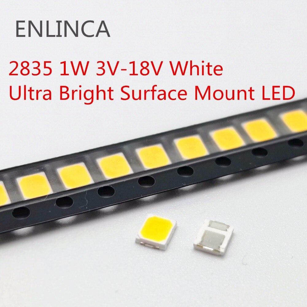 100 Uds SMD LED 2835 Chips 1W 3V 6V 9V 18V cuentas de luz Ware blanco natural frío 1W 130LM montaje superficial PCB diodo emisor de luz