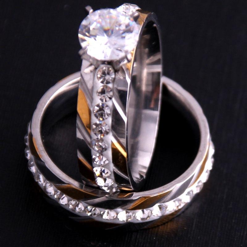 Aceita personalizado jóias de cristal anel conjunto europeu e americano incrustado strass moda par anel feminino presente festa