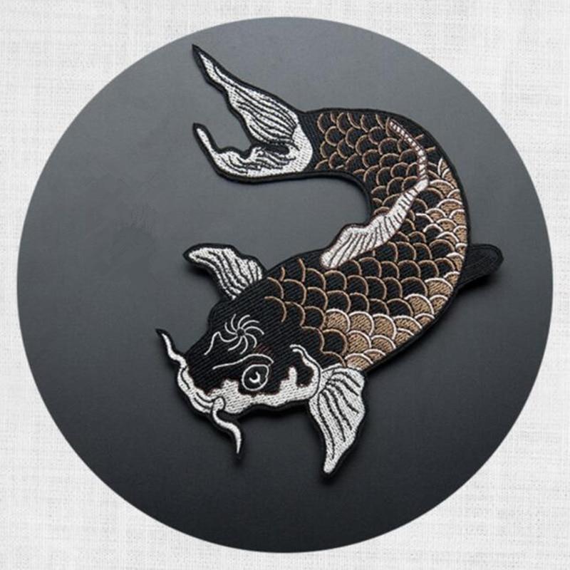 Carpa clássico design de logotipo do remendo do bordado de patch roupas de tecido etiqueta afixada adesivos decorativos diy acessórios