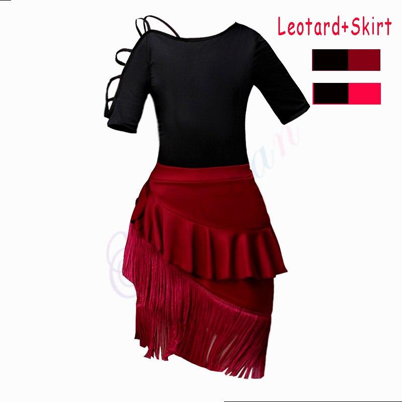 2 uds leotardo gimnástico + falda de baile latino chicas salón Tango Samba Salsa Chacha vestido de baile para niños falda Tango con flecos