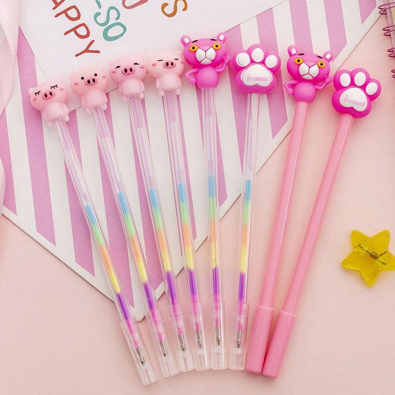 Розовая пантера Кошачий коготь свинья гелевая ручка Милая 0,38 мм черная/цветная чернильная авторучка маркер, фломастер школьные принадлежности для письма