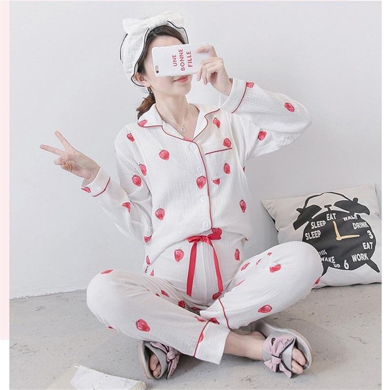 Breastfeeding pajamas breast feeding nightwear Maternity Nursing Pajamas for Pregnant Women Pregnancy Nightwear Cotton Suit