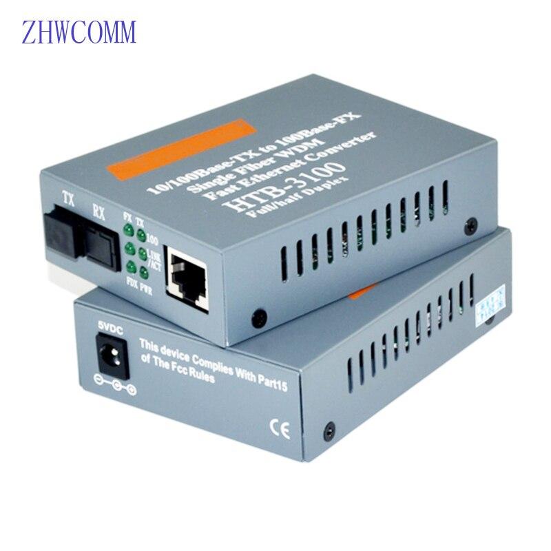 1 par HTB-3100AB transceptor de fibra de 100M 1 interfaz SC + 1 puerto RJ45 convertidor rápido de medios Ethernet de 25KM