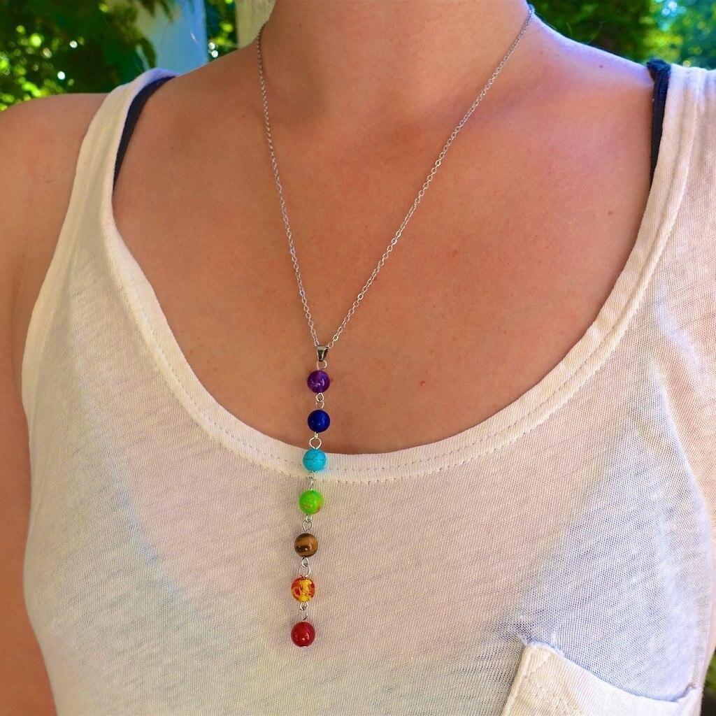 7 Чакры, камни рейки, целительная точка чакры, подвеска, подвеска, Анх, для йоги, ювелирных изделий, полудрагоценный камень, ожерелье