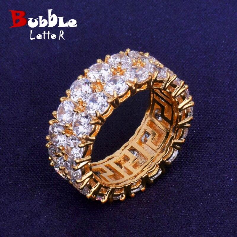 Двухрядное мужское кольцо-косынка, медное кольцо золотого цвета с кубическим цирконием, модное ювелирное изделие в стиле хип-хоп