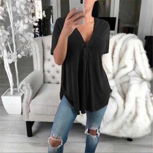 ¡Venta al por mayor! Camiseta de manga corta con cuello en V estilo bohemio para mujer, ropa informal, Túnica de verano 2019