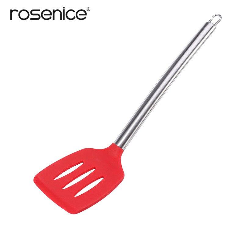 Антипригарный кухонный шпатель ROSENICE термостойкий силиконовый с прорезями и