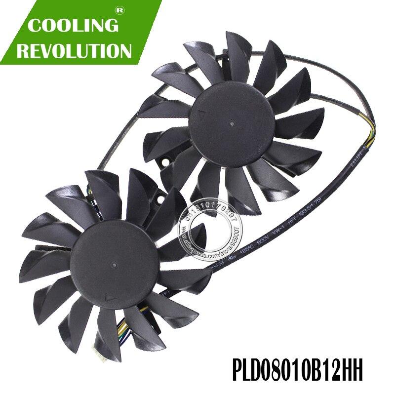 Envío Gratis PLD08010B12HH 2 unids/lote 52X52X52mm para MSI N670GTX Hawk N660 N660Ti N650Ti PLD08010B12HH ventilador de enfriamiento de la tarjeta gráfica