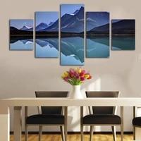 Moderne sans cadre 5 panneaux mode decoration de la maison peinture bleu lac et montagne paysage imprime sur toile art mural