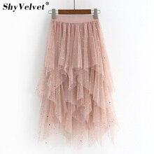 Irregular Tulle Skirt Fairy Stars Sequined Starry Layered Mesh Long Skirts Stretch High Waist Shine Tutu Skirts Pink Gray Black