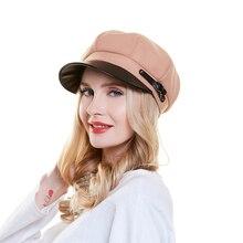 Kadın yün bere bahar sonbahar sekizgen şapka Vintage zarif Newsboy kap fransız bere şapka vizör ile