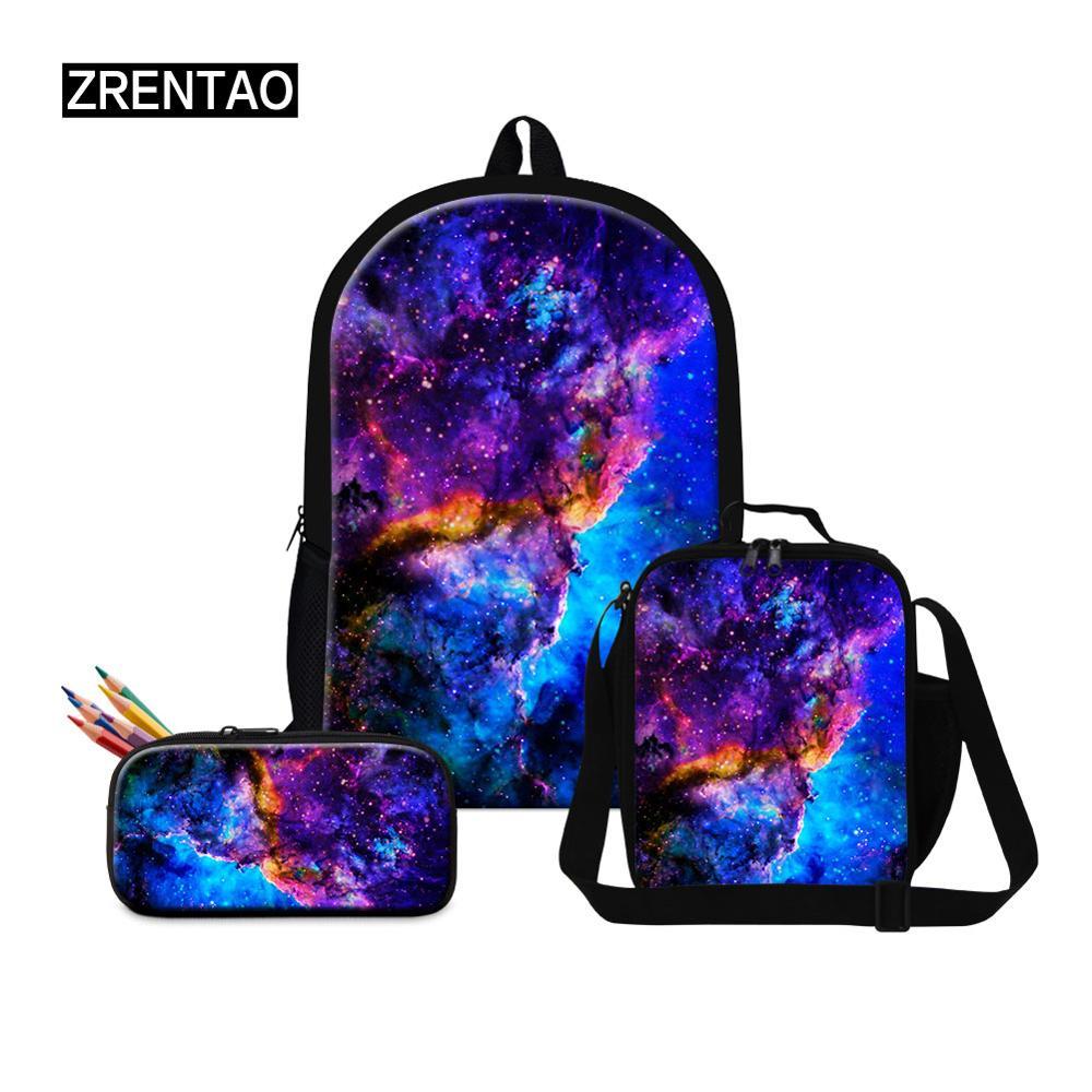 Big Backpack Set 3 Pcs Preschool Toddler Baby Boy Girl Schoolbag Unisex Nursery/Primary School Students Bookbags Universe Galaxy