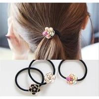 women hair accessories rhinestone beauty flower rubber convenient headband female ponytail hair headwear elastic hairband