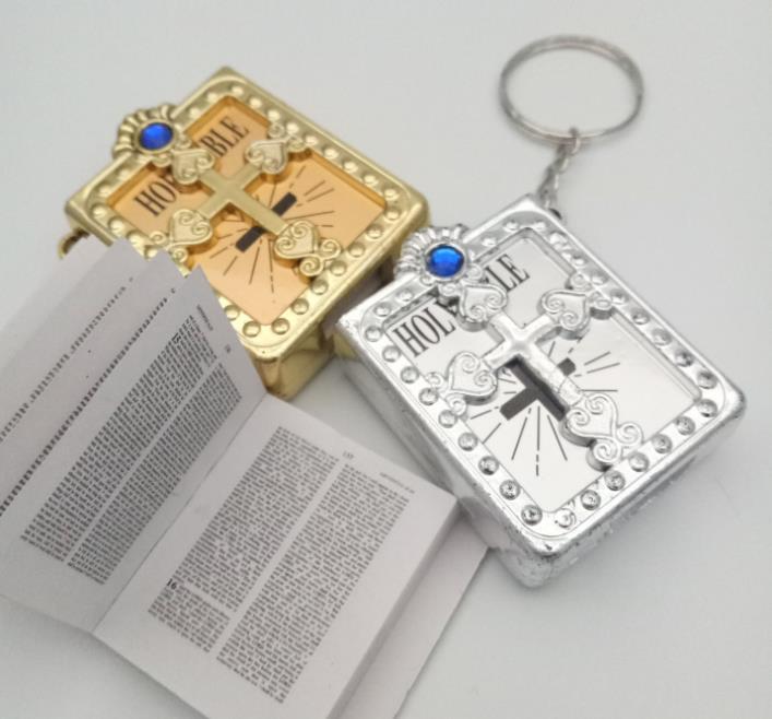 800 Uds inglés evangelio cristiano manualidades para regalos de navidad mini llavero con Biblia Dios día la escuela clave anillo de recuerdo