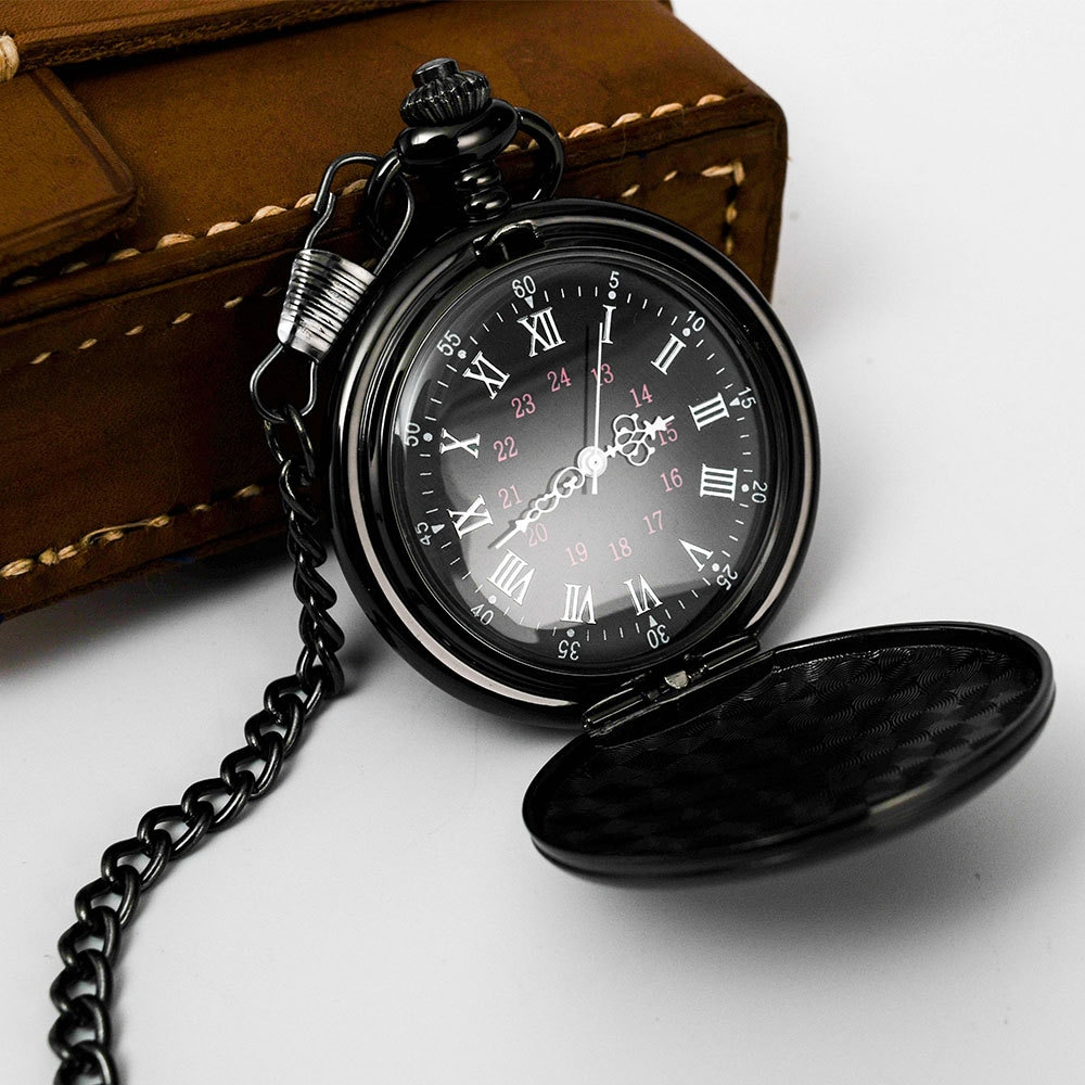 Personalized Retro Smooth Men Black Pocket Watch Silver Polish Quartz Fob Pocket Watches Pendant with Chain Custom Engraved Gift new fashion silver quartz men pocket watch man arabic roman number fob watches smooth surface hour gift short chain dual display