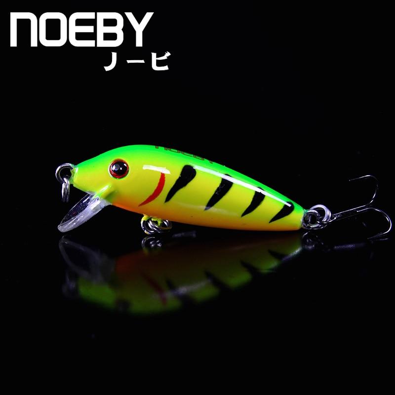 NOEBY 1 Pcs Fishing Lure 40mm/2.4g 0.2-0.8 Sinking Super MINNOW Lures Crankbait VMC Treble Hooks Hard Bait Colorful 3D Eyes