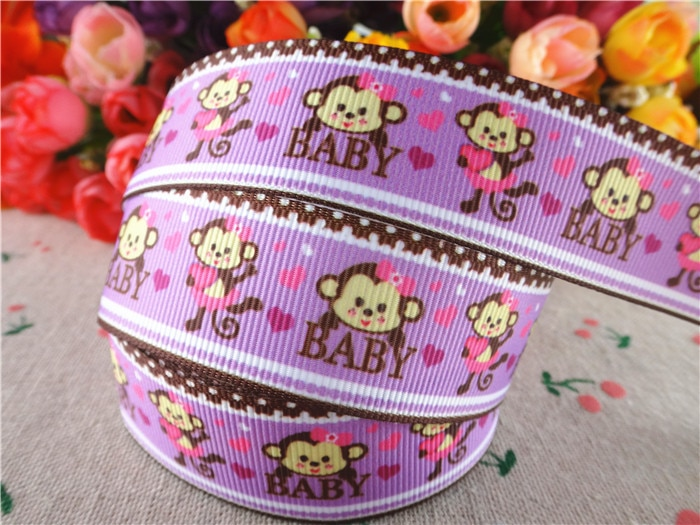 15060609, 1 25 (25mm) 5 jardas bebê macaco impresso gorgorão fitas dos desenhos animados fita acessórios de cabelo fita