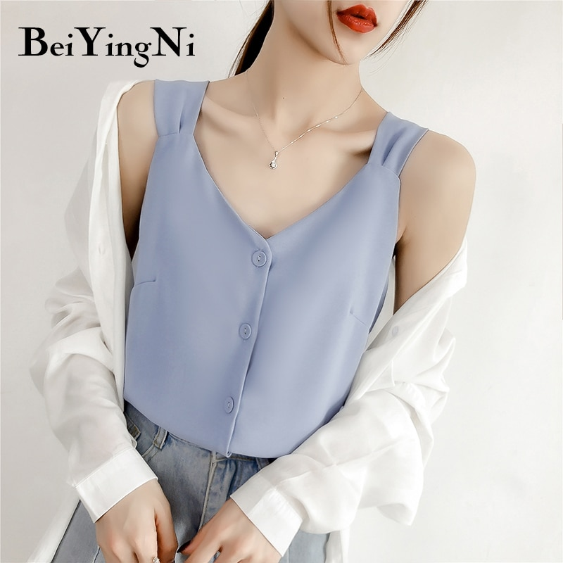 Beiyingni de fresco Single-breasted Mujer Tops Sexy coreano-Encuentro de tanque 2019 sin mangas Vintage volver blusa camiseta Mujer