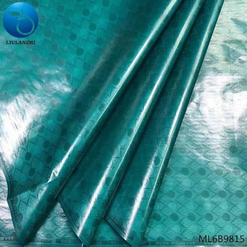 Liulanzhi brocado verde tecido africano bazin riche getzner tecido batik nigeriano frete grátis 5 jardas/lote online vendas ml6b98