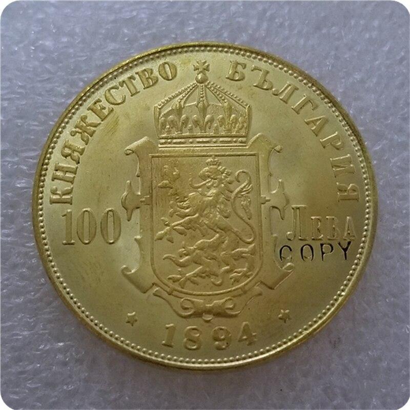 1894 Bulgaria Alexander I  100 Leva gold coin COPY FREE SHIPPING