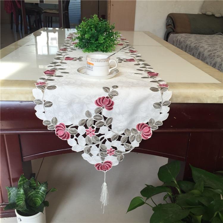 2020 camino para mesa de tela bordada de satén blanco moderno nappe mantel de Navidad mantel toalla hogar Decoración de la boda