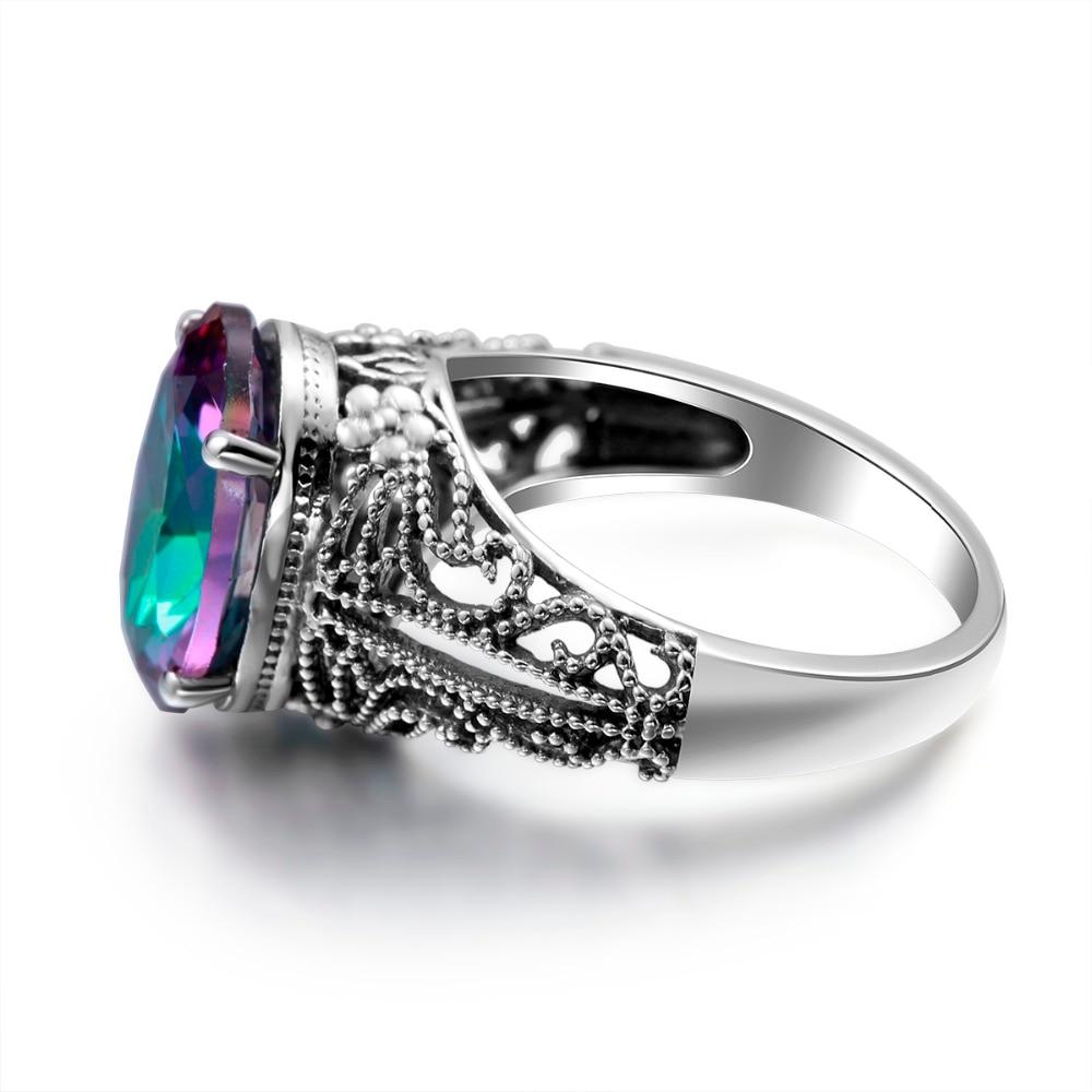 Dubai Jewelry Sets Earrings & Ring Fire Mystic Rainbow Vintage Crystal Earrings Solid 925 Silver Bridal Wedding Schmuck Sets