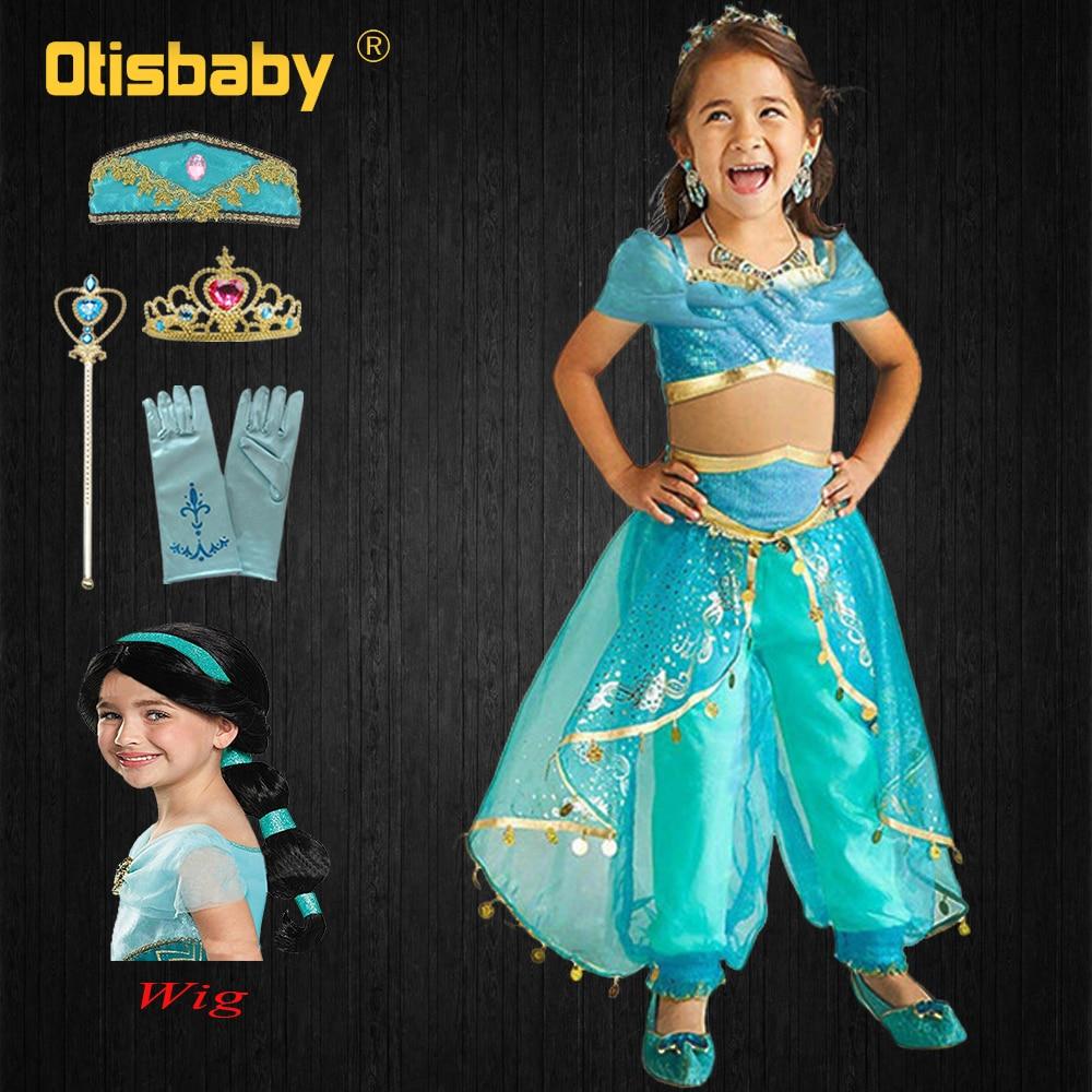 Navidad Halloween traje de princesa jazmín niñas Aladdin Belle vestido de baile carnaval niños ropa árabe fantasía jazmín