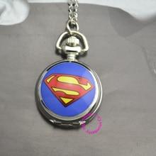 wholesale cute blue DC Superhero the superman Pocket Watch Necklace hour good new fashion women girl lady antibrittle