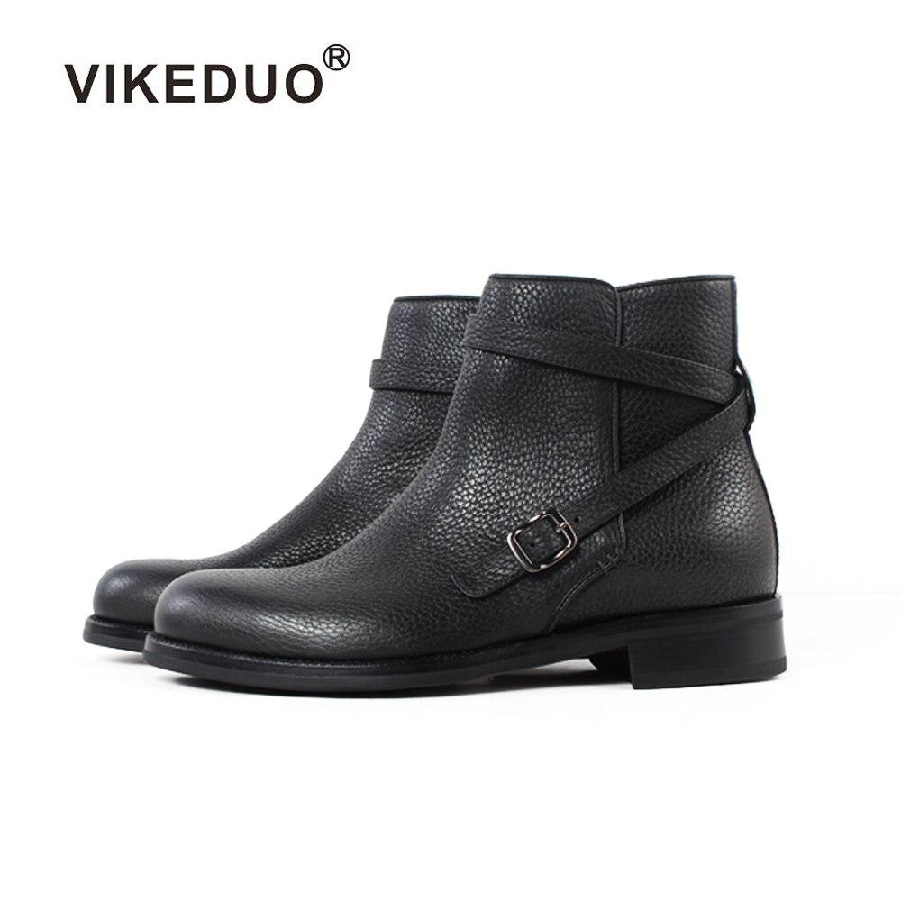 Vikeduo 2020 اليدوية التكتيكية التمهيد العسكرية الأزياء الفاخرة عارضة كعب الكاحل أنيقة جلد طبيعي الثلوج الشتاء الفراء الرجال تصميم