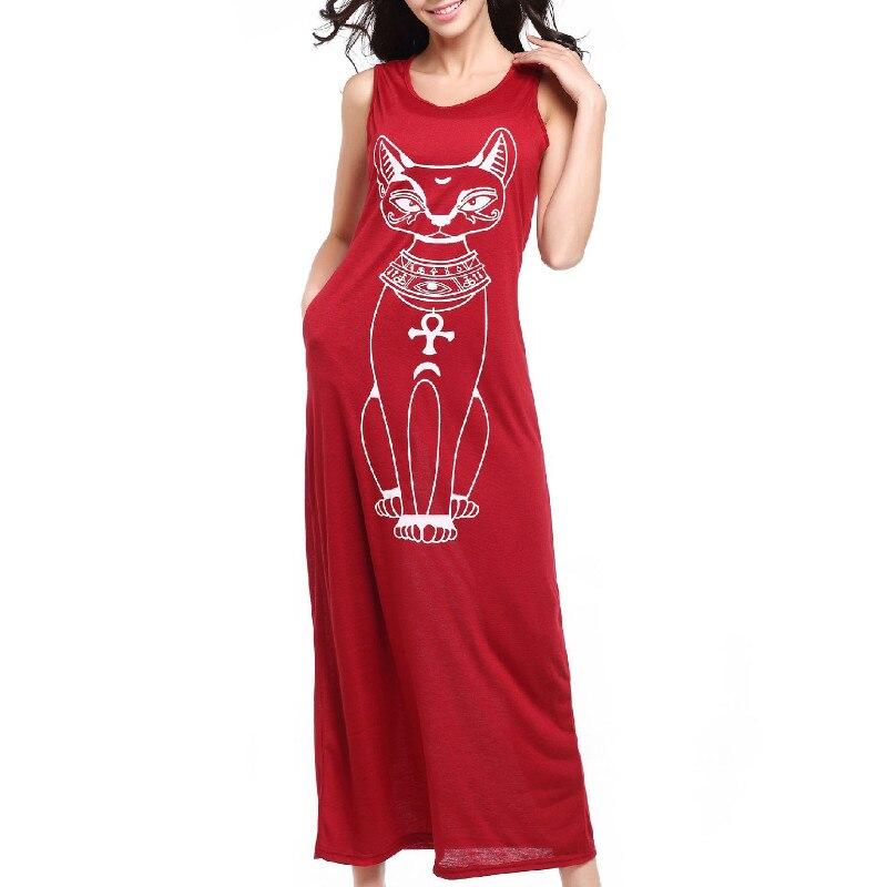 Loose Sleeveless Boho Beach Dress Cat Print Long Maxi Women Summer Dress Elegant Leisure O Neck Black Vest Tunic Vestidos Black