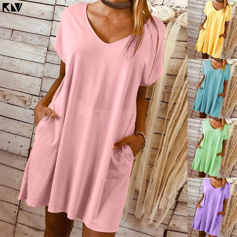 KLV mujeres de talla grande Casual liso cuello pico vestido suelto largo Top sólido corto manga Mini vestido con bolsillos