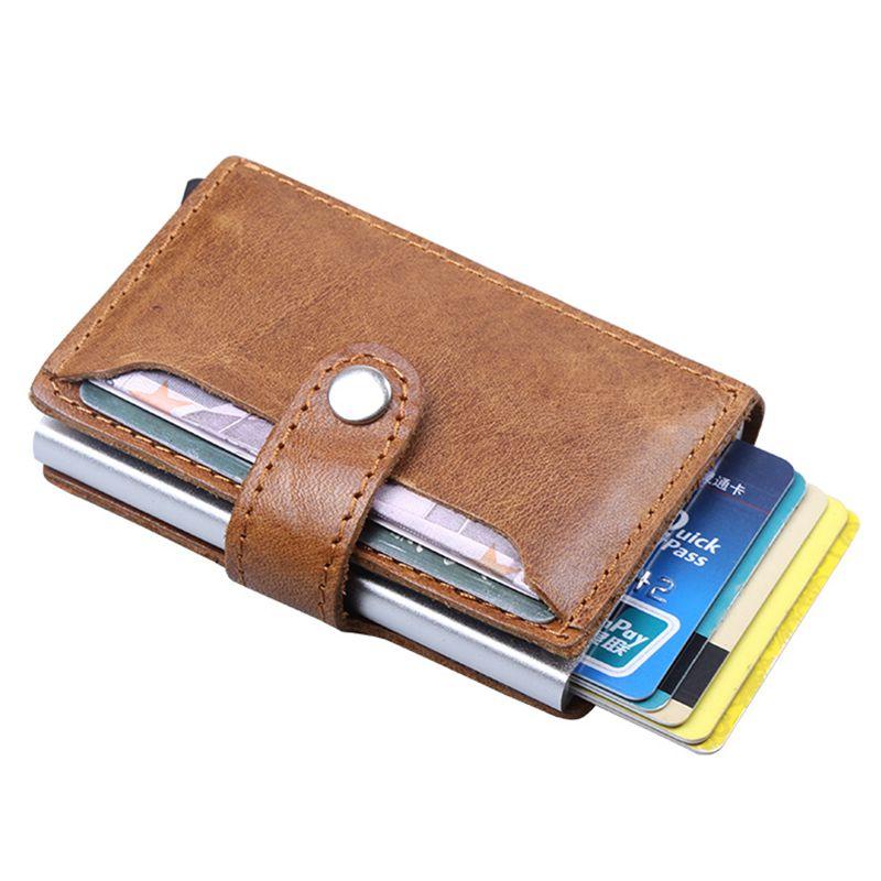 Men Blocking Rfid Wallet Mini 100% Genuine Leather Business Aluminium Credit Card Holder Purse Automatic Pop Up Card Case