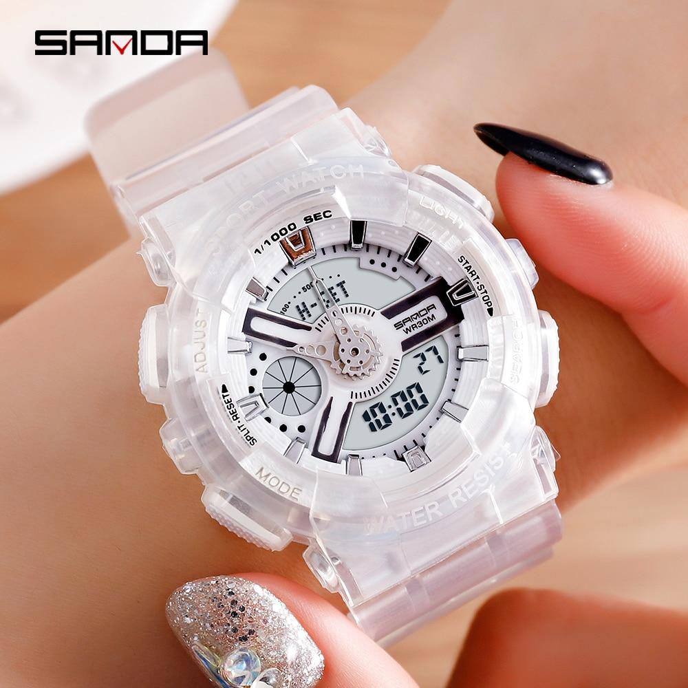 Relógios à Prova Relógios de Pulso Sanda Estilo Masculino Dwaterproof Água Led Esporte Relógio Feminino Choque Casal Reloj Hombre g
