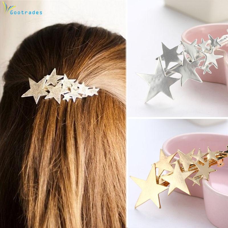 1PC Neue Mode Legierung Sterne Barrettes Frauen Vintage Haar Clips Silber Gold Haarnadeln Grips Mädchen Haar Zubehör Für Dame