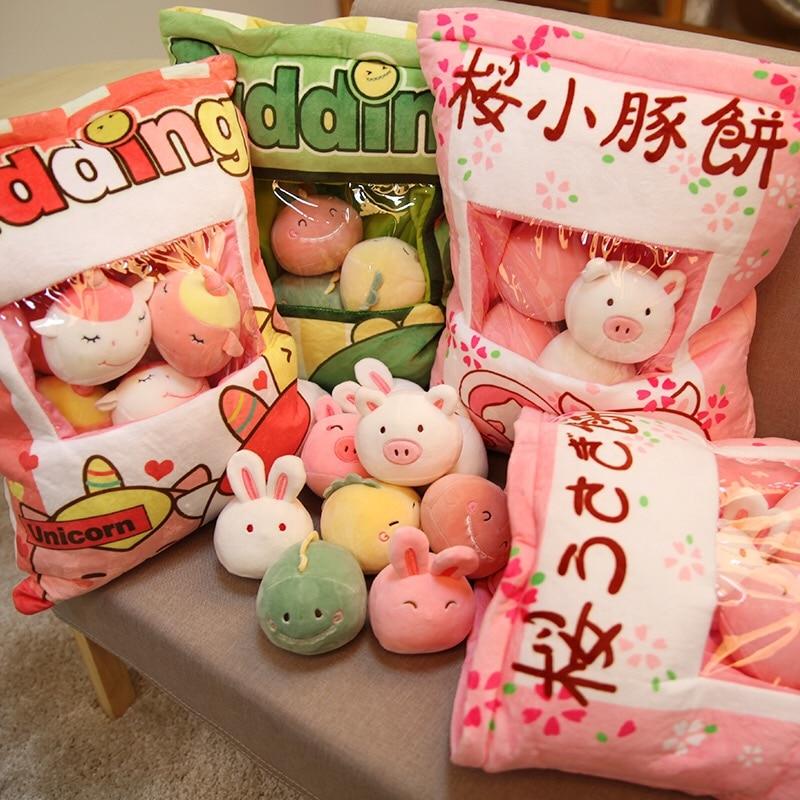 Creative Toy a bag of 8pcs plush green dinosaur/unicorns stuffed pudding pillow swag toys gift for children Sofa Seat Christmas