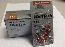 Батарея iCellTech для слухового аппарата, 60 шт., батарея из цинка 312/A312/PR41