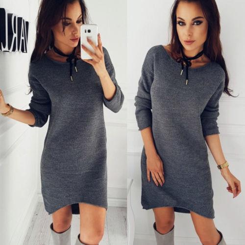 Новый женский зимний теплый джемпер с длинным рукавом, вязаный свитер, свободный Туника короткое платье