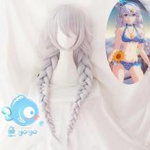 Honkai Impact 3 Cosplay Wig Kiana Kaslana Silver Long Braid Synthetic Hair + Wig Cap