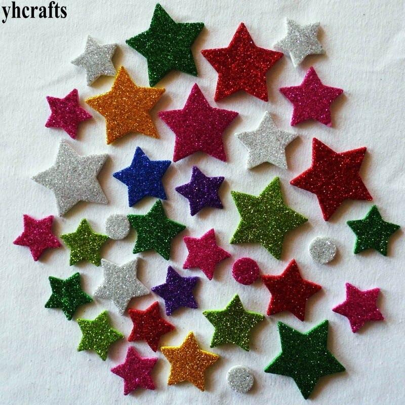 1 bolsa/lote. Estrella redonda brillo espuma pegatinas jardín de infantes ornamento, Aprendizaje Temprano juguetes educativos diy premio de Kindergarten hecho a mano