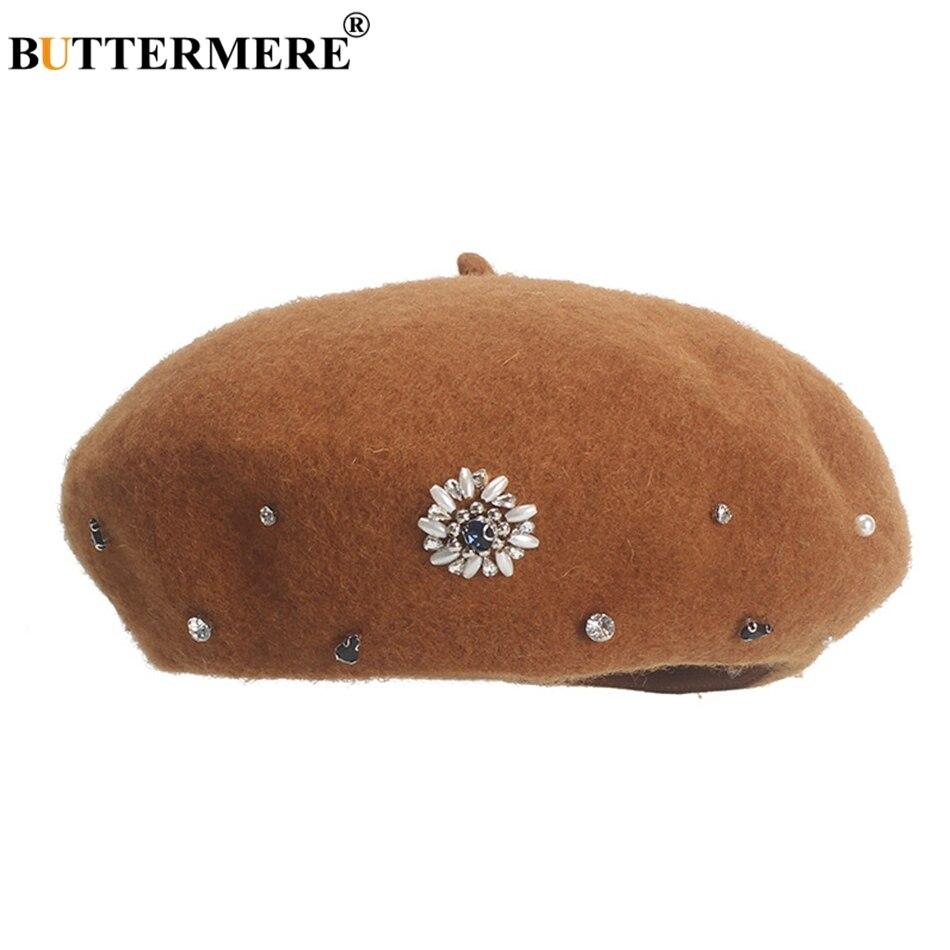 BUTTERMERE, Boina francesa, gorro de lana para mujer, gorra de pintor amarilla, elegante gorro de artista de lana de diamante para otoño e invierno, gris, novedad de 2020