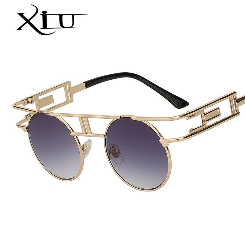 XIU Steampunk gafas de sol góticas para mujer marca de diseñador gafas de sol Retro Vintage oro rosa gafas de mujer de alta calidad UV400