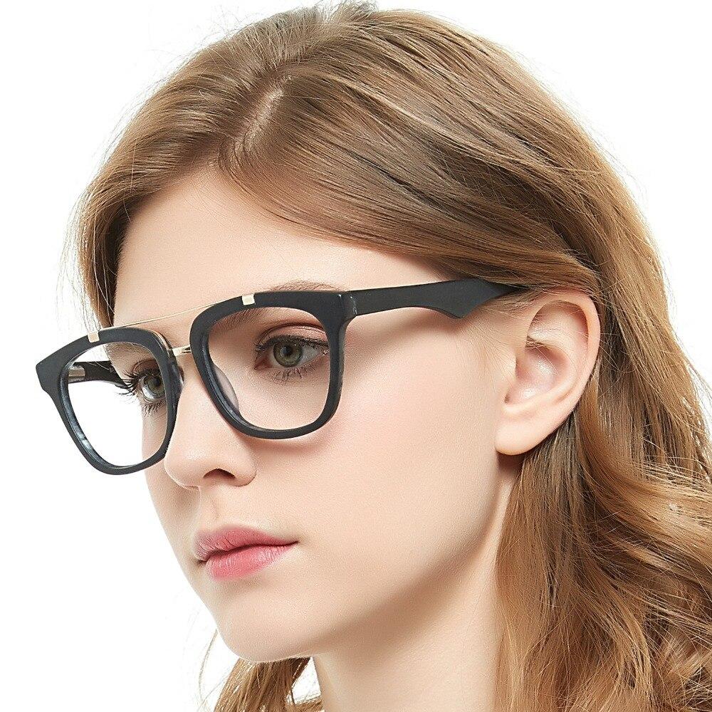 Vogue montura de gafas de Metal para mujer, montura de gafas de gran tamaño negra de acetato para miopía de empollón, montura de gafas MARE AZZURO OC7033