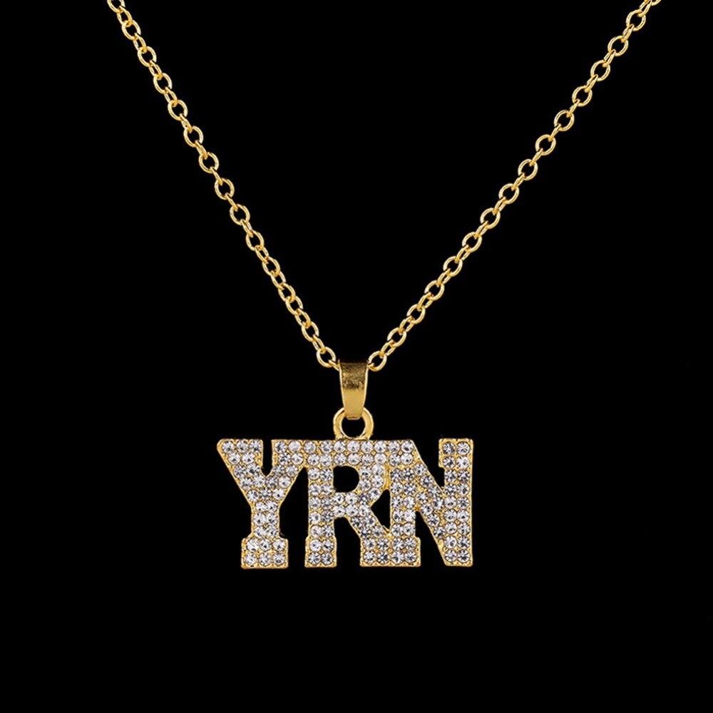 Collar Simple completamente de circón con palabras, moda masculina Punk letra colgante de collar de hiphop Street Style, joyería chapada en oro y plata