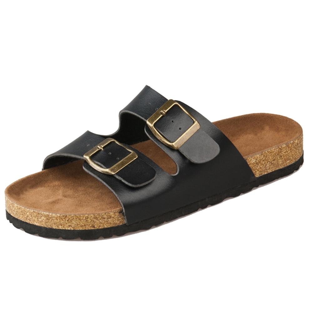 Men Fashion Flip Flop Buckle Cork PU Leather Beach Summer Slipper Men Sandals Shoes zapatos hombre