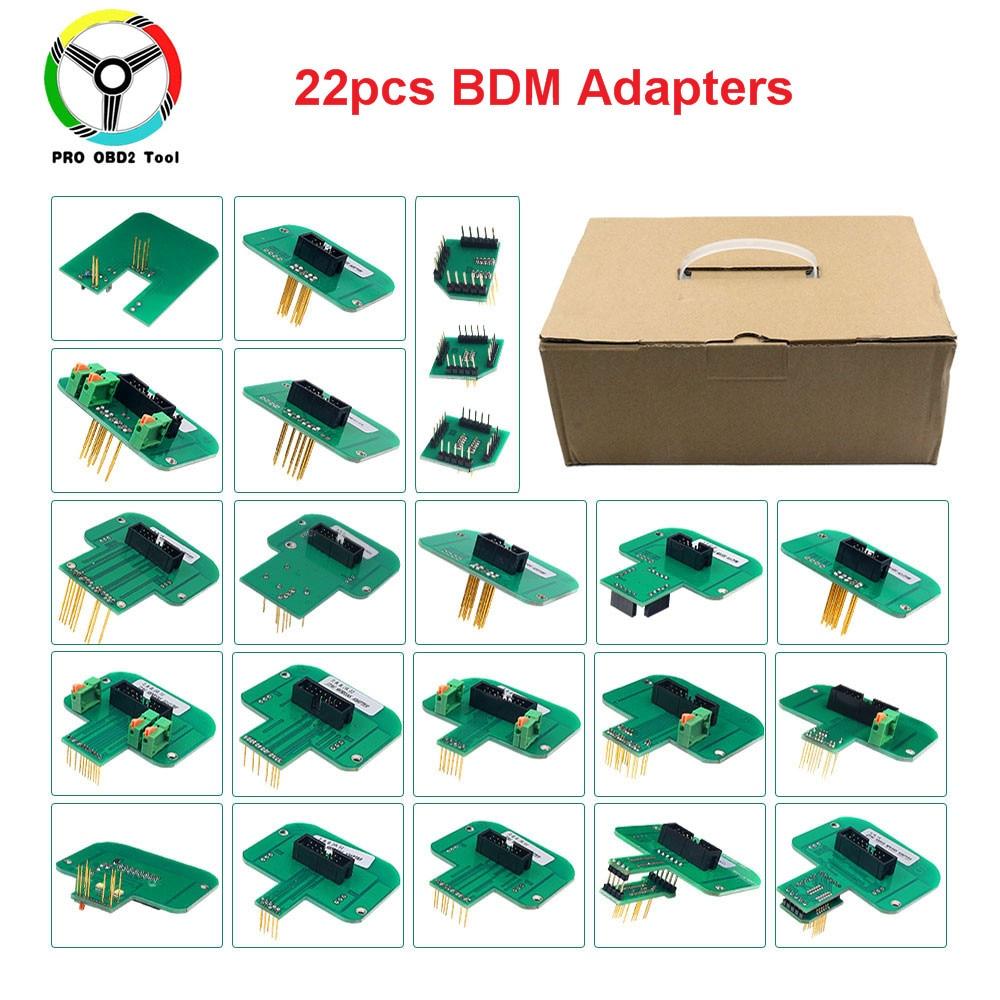 22 قطعة BDM محولات مجموعة كاملة BDM الإطار ل KTAG KESS FGTECH BDM100 التحقيق محولات LED ECU المنحدر رقاقة ضبط أداة 22 قطعة محول