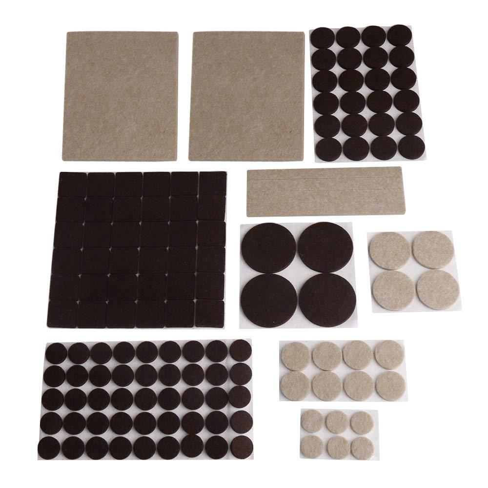 133 Uds. Almohadillas de fieltro redondas cuadradas color albaricoque marrón antideslizantes protectores de arañazos para suelo autoadhesivos 9 pies silla Mesa