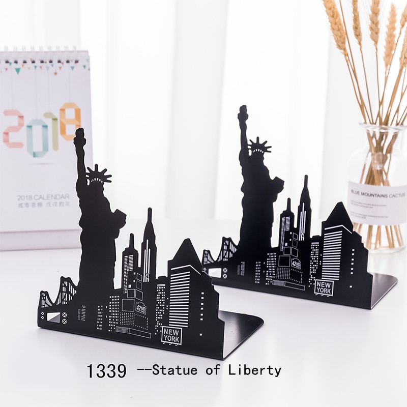 One Pair Fashion Modern European American Architecture Landmark Theme Style Thickening Iron Library School Metal Bookends