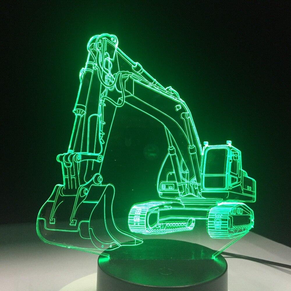 Lámpara LED 3D de 7 colores para coche excavadora, luces de noche para niños, lámpara táctil USB para mesa, lámpara para dormir para bebé, lámpara de Control remoto