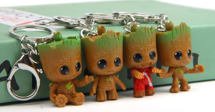 4PCS Mini Tree man Figure Grootted Doll Keychain Toys Guardians Galaxy Baby Treeman Keychain Pendant Toy Mini Action Figure Toy